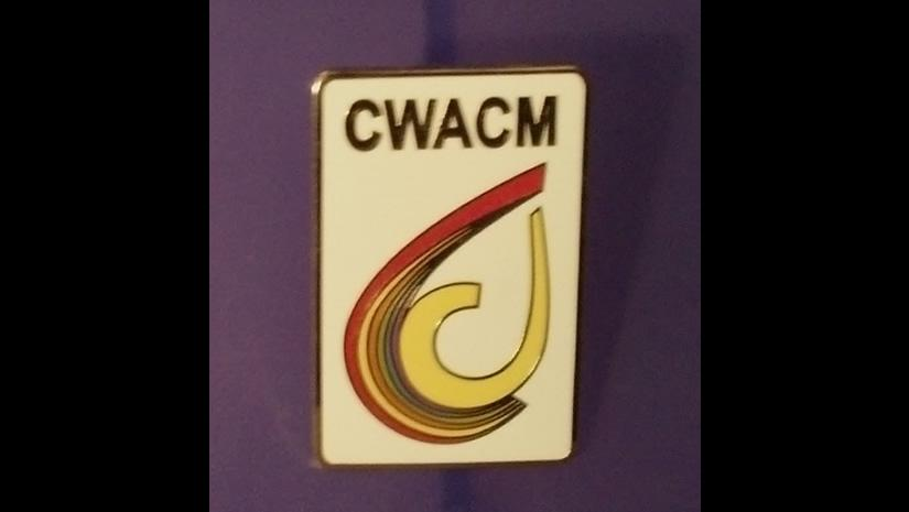 small rectangle pin with multi-color CWACM logo