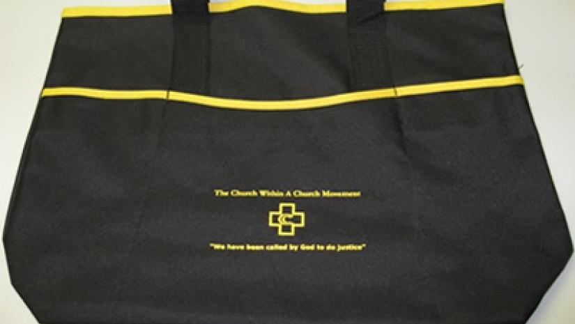 CWACM Tote Bag, black with yellow trim and CWACM logo on side